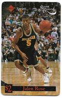 Sprint U.S.A., Basketball, Jalen Rose, $2 Calling Card, # Basket-7,  Expired In 1995, No Value - Sport