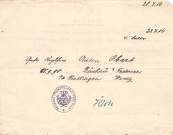 Ausweis Urkunde 1916 Verleihung Eisernes Kreuz 2 Klasse Res. Feld. Art. Regt. No. 54 - Germania