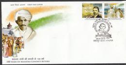 INDIA, 2015, FDC, SETENANT,  100 Years Of Mahatma Gandhi Return From South Africa Ship Newspaper, Jabalpur Cancelled - FDC