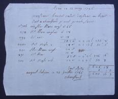 Manuscrit Commercial Du XVIIIe Siècle - Ain Et Rhône - Oyonnax Et Lyon - Protagonistes Bouvet Cadet Et Autres - Manuskripte