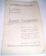 Boussu , Le 19 Juillet 1945 , Joseph Tamigniau , Membre De L'armée Secrète  , Décoré De La Croix Des Déportés, - Verzamelingen