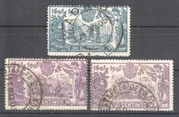 SP091 1905 SPAIN KINGDOM ALPHONSE XIII EILMARKE COAT OF ARMS CERVANTES DON QUIXOTE MICHEL #222,224 13.1 EURO 3ST USED - 1889-1931 Reino: Alfonso XIII