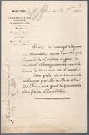 Paris 1883  - Lettre Du Ministère De Linstruction Publique Et Des Beaux Arts - Diploma & School Reports