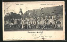 CPA Saarunion, Evangelische L'Église, Platz Avec Evang. Schulhaus - Unclassified