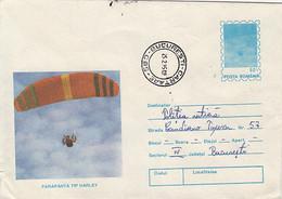 SPORTS, PARACHUTTING, HARLEY HAND GLIDER, COVER STATIONERY, ENTIER POSTAL, 1995, ROMANIA - Fallschirmspringen