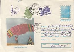 SPORTS, PARACHUTTING, KESTREL HAND GLIDER, NICE STAMPS, REGISTERED COVER STATIONERY, ENTIER POSTAL, 1995, ROMANIA - Fallschirmspringen