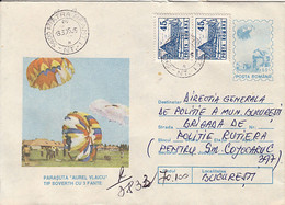 SPORTS, PARACHUTTING, AUREL VLAICU PARACHUTE, NICE STAMPS, REGISTERED COVER STATIONERY, ENTIER POSTAL, 1995, ROMANIA - Fallschirmspringen