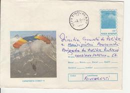 SPORTS, PARACHUTTING, COMET 11 HAND GLIDER, COVER STATIONERY, ENTIER POSTAL, 1995, ROMANIA - Fallschirmspringen