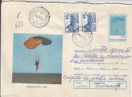 SPORTS, PARACHUTTING, RL 12/2 PARACHUTE, NICE STAMPS, REGISTERED COVER STATIONERY, ENTIER POSTAL, 1995, ROMANIA - Fallschirmspringen