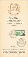 37731. Tarjeta Menu Cena BARCELONA 1975. Semana Gaudiniana. GAUDI Homenaje - 1931-Aujourd'hui: II. République - ....Juan Carlos I