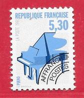 France Préo N°222a 5F30 Bleu Clair, Bleu & Noir (dentelé 12) 1991 Instrument Musique Piano ** - Precancels