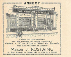 Maison J. Rostaing, Annecy. Alimentation Generale. Pubblicita 1932 - Advertising