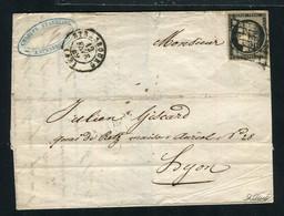 Rare Lettre De Strasbourg Pour Lyon ( Bas Rhin 1849 ) Avec Un N° 3 - 1849-1850 Ceres