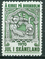 Vi Vignette Sweden 1970 | Jul I Skåneland. Å Kirke På Bornholm. Christmas - Erinnofilia