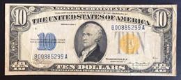 Occupazione Americana Della Sicilia Usa 10 $ Dollari 1934 A Bollino Giallo Bb+  LOTTO 3350 - [ 1] …-1946: Königreich