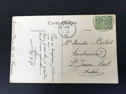Postkaart OBP 137 - 5c Groen Als Enkelfrankering Verviers-Aubel [S] - 1915-1920 Albert I