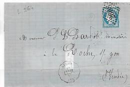 Ferroviaire LUCON Vendée Convoyeur Station Ligne 264 LA ROCHELLE à LA ROCHE SUR YON Cérès 25c 1874    ..G - Poststempel (Briefe)