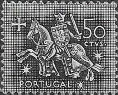 PORTUGAL 1953 Medieval Knight - 50c - Black MNG - 1910-... République