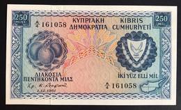 Cyprus Cipro 250 ML 1961 Pick#37 About Unc Q.fds Macchioline Lotto.3359 - Cyprus