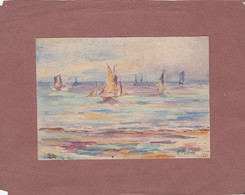 Aquarelle De A. Turotte 1921, (Cambrai, Nord.) Voiliers Sur La Mer. - Acquarelli