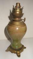 LAMPE A   PETROLE  PIEDS BRONZE  + MARBRE OU ONIX - Luminari