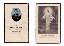 Mémento De René LAMBERT, Mort En Captivité à Stuttgart Le 8/10/1943, 34 Ans, Souvenir Mortuaire à Localiser - 1939-45