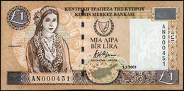 """CYPRUS (GREECE) 1 POUND 2001 UNC S/N:""""AN000451"""" P-60c """"free Shipping Via Regular Air Mail (buyer Risk)"""" - Cyprus"""
