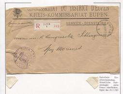 REF1906/ Lettre Recommandée Service-Dienstlich Kreis-Kommissariat Eupen C.Eupen 22/7/21 > Neu Moresnet - Brieven En Documenten
