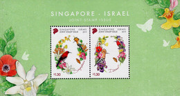 Singapore - 2019 - Birds And Flowers - Joint Issue With Israel - Mint Souvenir Sheet - Singapur (1959-...)