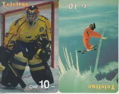 SWITZERLAND - PHONE CARD - PREPAIDS SUISSE ***   2 X TELELINE - HOCKEYS & SKIS  *** - Sport