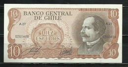 CHILE - BILLETE DE 10 ESCUDOS SIN CIRCULAR - Cile