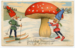 Gros Champignon,lutins,ski,neige. - Mushrooms