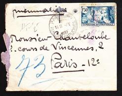 """336 - 1,50F Expo Paris - Sur Lettre Avec Mention """"PNEUMATIQUE"""" - 1937 - Très Beau. - Cartas"""