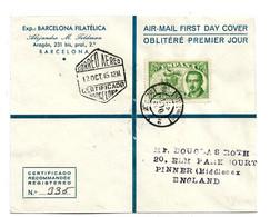 Ep368 / SPANIEN - Tag Der Briefmarke 1945, FDC Nach Pinner/England Per Einschreiben - 1931-50 Lettres