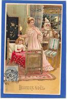 PERE NOEL à La Fenêtre, Enfant, Maman - Gaufrée, Relief, Dorures - Weihnachten