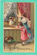 PERE NOEL à La Fenêtre, Enfant, Maman, Chien Assoupi - Gaufrée, Relief, Dorures - Weihnachten