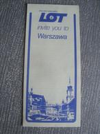 LOT POLISH AIRLINES INVITE YOU TO WARSZAWA - POLAND, 1987 APROX. WIEN 1:25 000 MAP - Dépliants Turistici