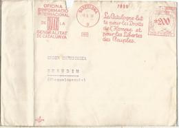 GUERRA CIVIL BARCELONA 1938 FRANQUEO MECANICO GENERALITAT DE CATALUNYA OFICINA INFORMACION INTERNACIONAL LUCHA POR LOS D - 1931-50 Lettres