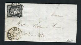 Rare Lettre De Versailles Pour Lannion ( Seine & Oise 1849 ) Avec Un N° 3 - 1849-1850 Cérès