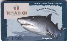 """TIBURON ESCALANDRUN. ENTRADA MAYORES DE """"TEMAIKEN"""" BIO PARQUE. CIRCA 2005's. REQUIN SHARK TICKET -LILHU - Eintrittskarten"""