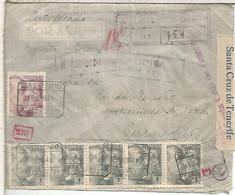 CANARIAS SANTA CRUZ DE TENERIFE 1941 CC CERTIFICADA AEREA A ALEMANIA SELLOS FRANCO DE PERFIL CON MARCA Y CIERRE DE CENS - 1931-50 Lettres