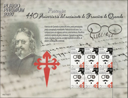 2020-ED. 5428 En Pliego Premium- Personajes Literatura. 440 Aniversario Nacimiento Francisco De Quevedo - USADO - Feuilles Complètes