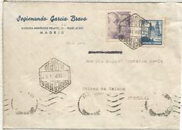MADRID CC CORREO AEREO A PORTUGAL 1944 CON SELLO FRANCO PERFIL Y CATEDRAL DE SANTIAGO AÑO SANTO CON CENSURA DE MADRID - 1931-50 Lettres
