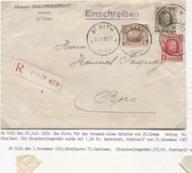 REF1911/ TP 203-255-256 Albert Houyoux S/L.Hubert Doutrelepont Notaire Recommandée C.St.Vith 20/7/29 > Born - Brieven En Documenten