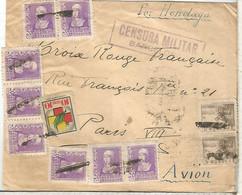 BARCELONA A PARIS 1939 SELLOS ISABEL CID Y VIÑETA BENEFICA MAT DE FORTUNA Y CENSURA MILITAR - 1931-50 Lettres