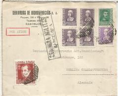 BARCELONA A ALEMANIA  SELLOS ISABEL  Y FERNANDO Y VIÑETA JOSE ANTONIO PRIMO DE RIVERA MAT AEREO Y MARCA DE CENSURA - 1931-50 Lettres