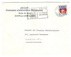 LETTRE 1965 SKF Cie D'APPLICATIONS MÉCANIQUES ROUTE DU MANS St CYR SUR LOIRE - FLAMME TOURS - Y & T 1354B - Marcofilie (Brieven)