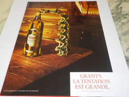 PUBLICITE  TENTATION EST GRANDE WHISKEY GRANT S 1982 - Alcohols