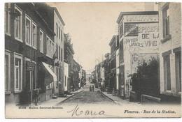 Fleurus - Rue De La Station - Café:Roussia Tainette Vannier - Epicerie - 10.483 Maison Scouvart Seutens - Circulé-2Scans - Fleurus