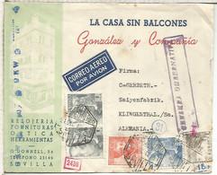 SEVILLA A ALEMANIA 1942 CC AEREA CON SELLOS FRANCO PERFIL CID SAN JUAN DE LA CRUZ MARCA CENSURA GUBERNATIVA (CON SEVILLA - 1931-50 Lettres